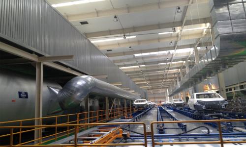 安徽江淮汽车年产24万辆乘用车涂装车间机械化滑撬输送设备及自动化